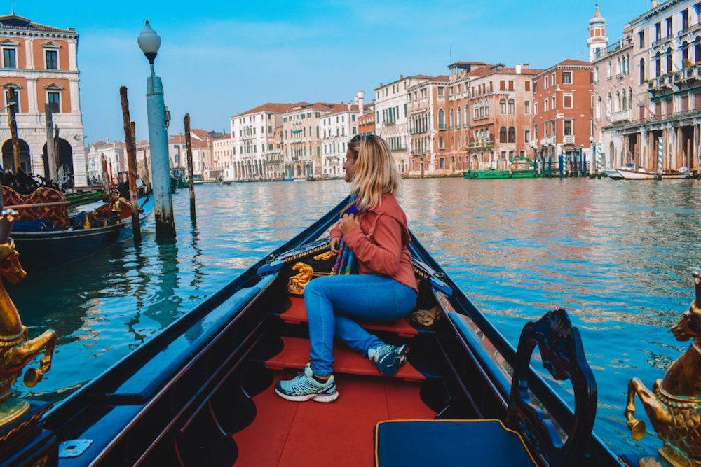 Enjoying my gondola cruise around Venice