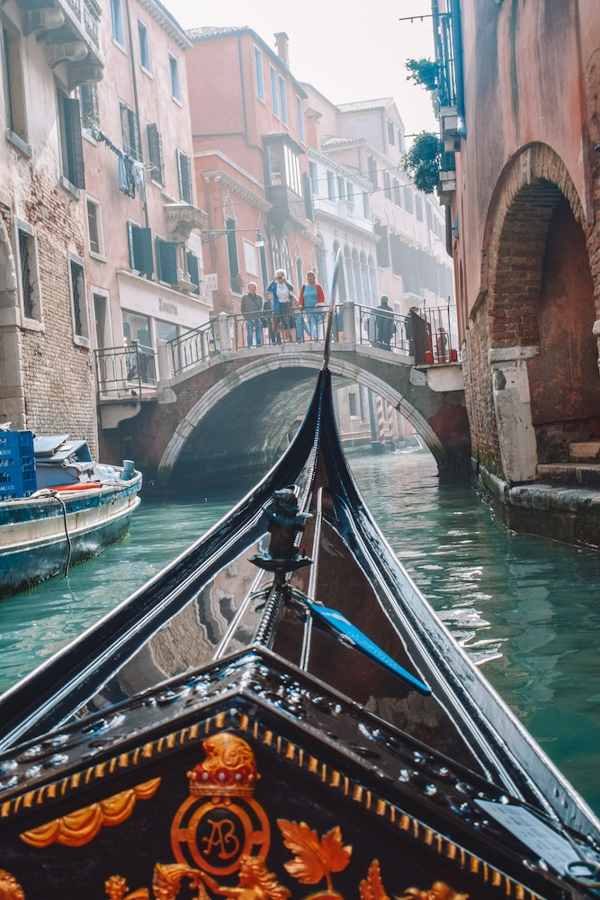 Going for a gondola ride in Venice, Italy