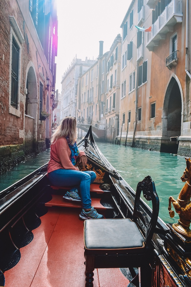 Cruising the canals of Venice during our gondola ride