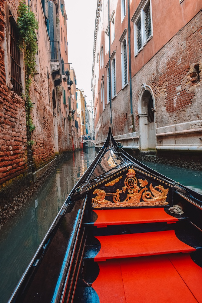 Cruising the canals of Venice, Italy, in our gondola