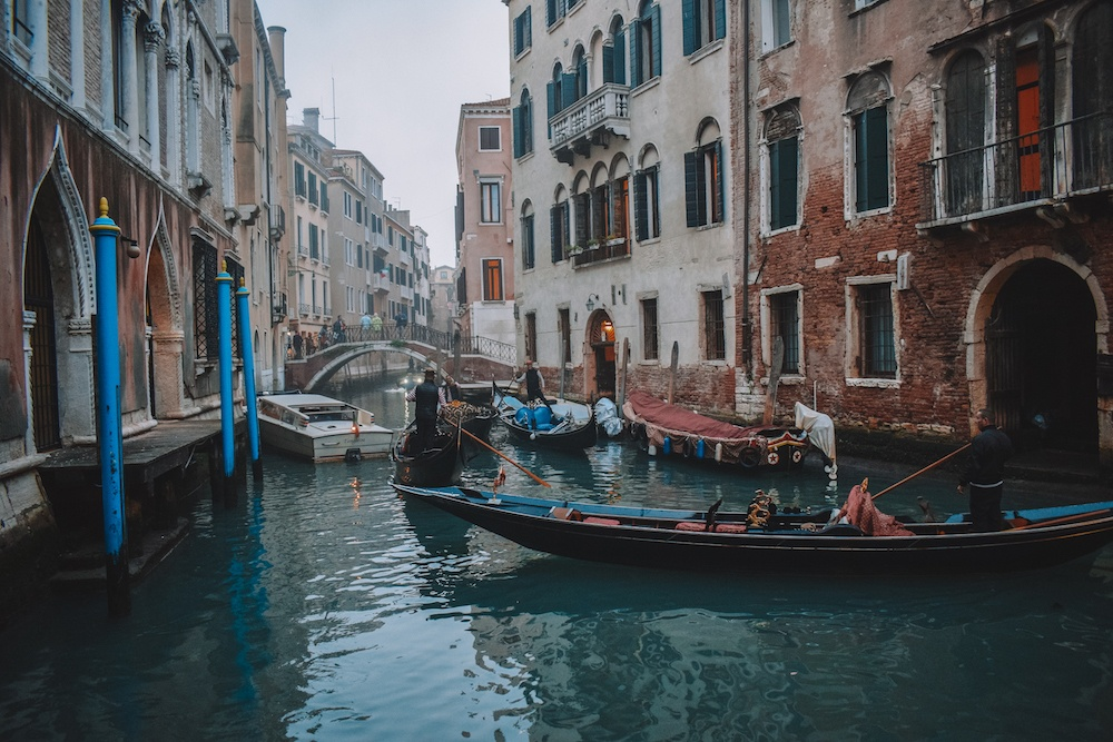 Gondola boats in the canals of Venice, Italy