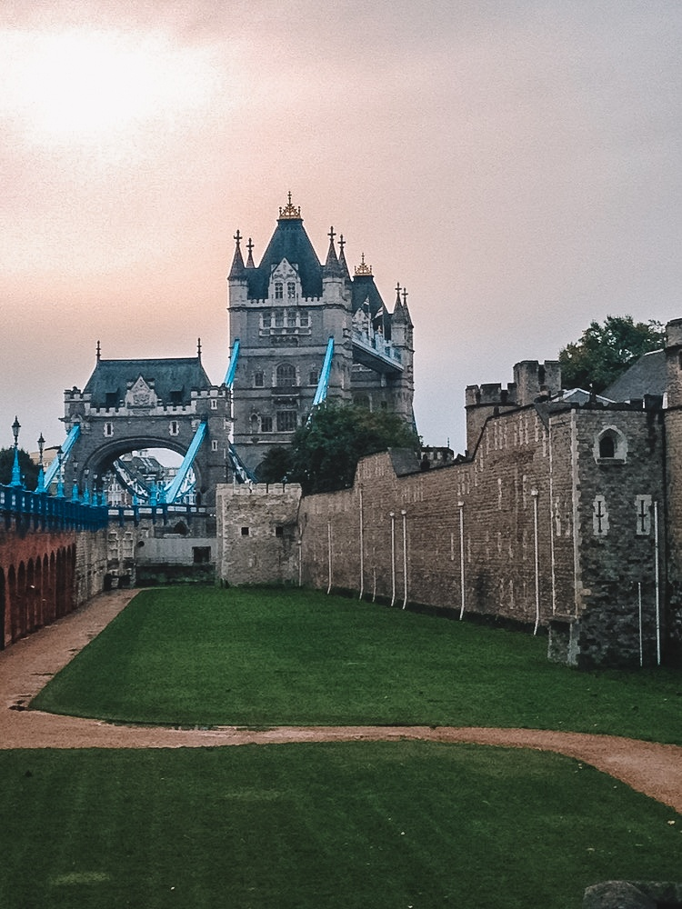 Tower Bridge and the Tower of London at golden hour