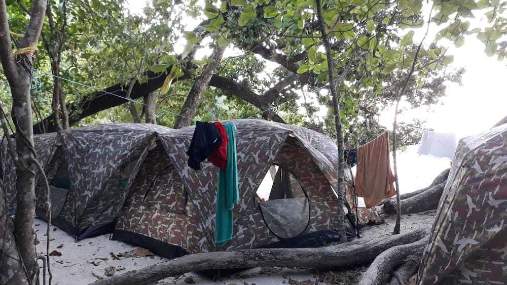 The camping tents in the Surin Islands seen from outside