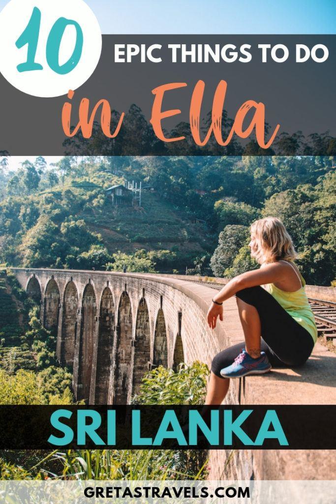 "Blonde girl sitting on the edge of Nine Arch Bridge in Ella, Sri Lanka, with text overlay saying ""10 epic things to do in Ella, Sri Lanka"""