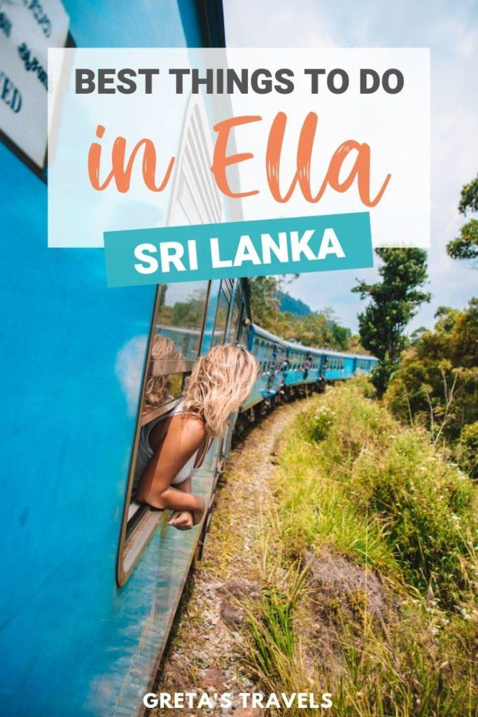 """Blonde girl leaning out of the scenic blue train from Kandy to Ella with text overlay saying """"best things to do in Ella, Sri Lanka"""""""