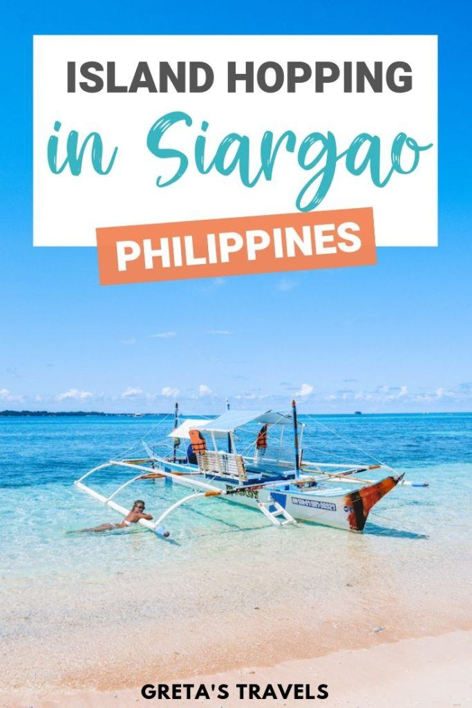 """Photo of a blonde girl by a traditional Filipino boat in Naked Island with text overlay saying """"Island hopping in Siargao, Philippines"""""""
