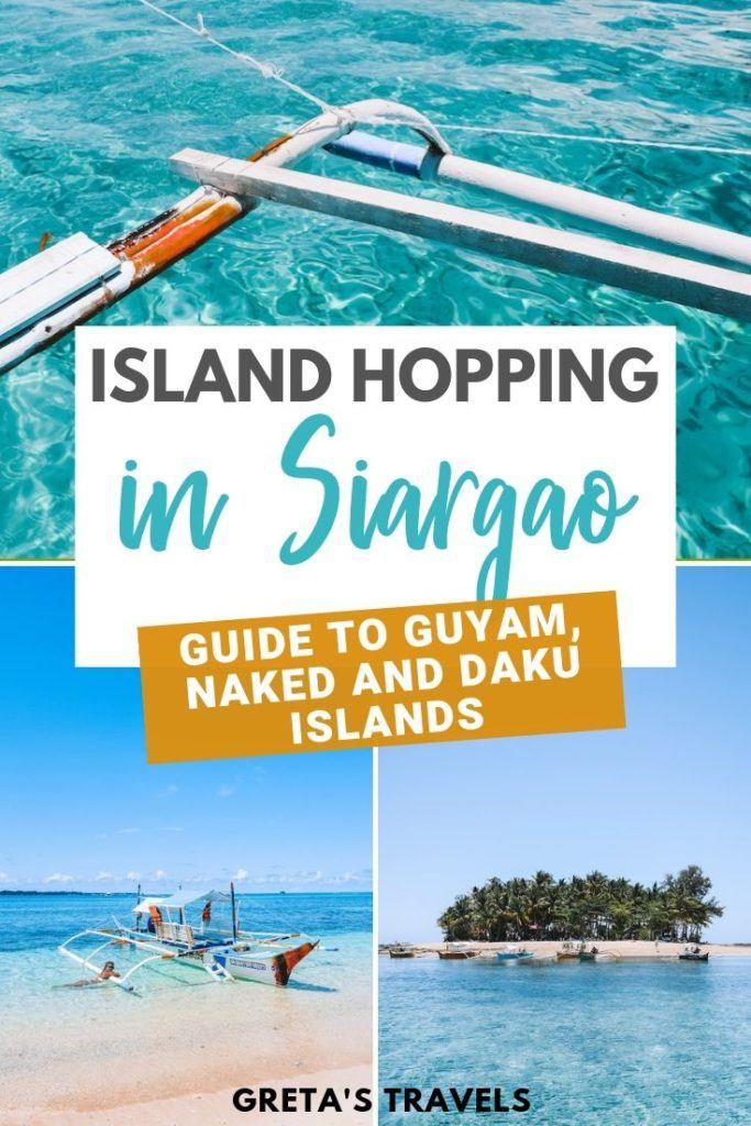 """Photo collage of Guyam Island, a traditional Filipino boat and the clear water of Naked Island with text overlay saying """"Island hopping in Siargao - guide to Guyam, Naked and Daku Islands"""""""