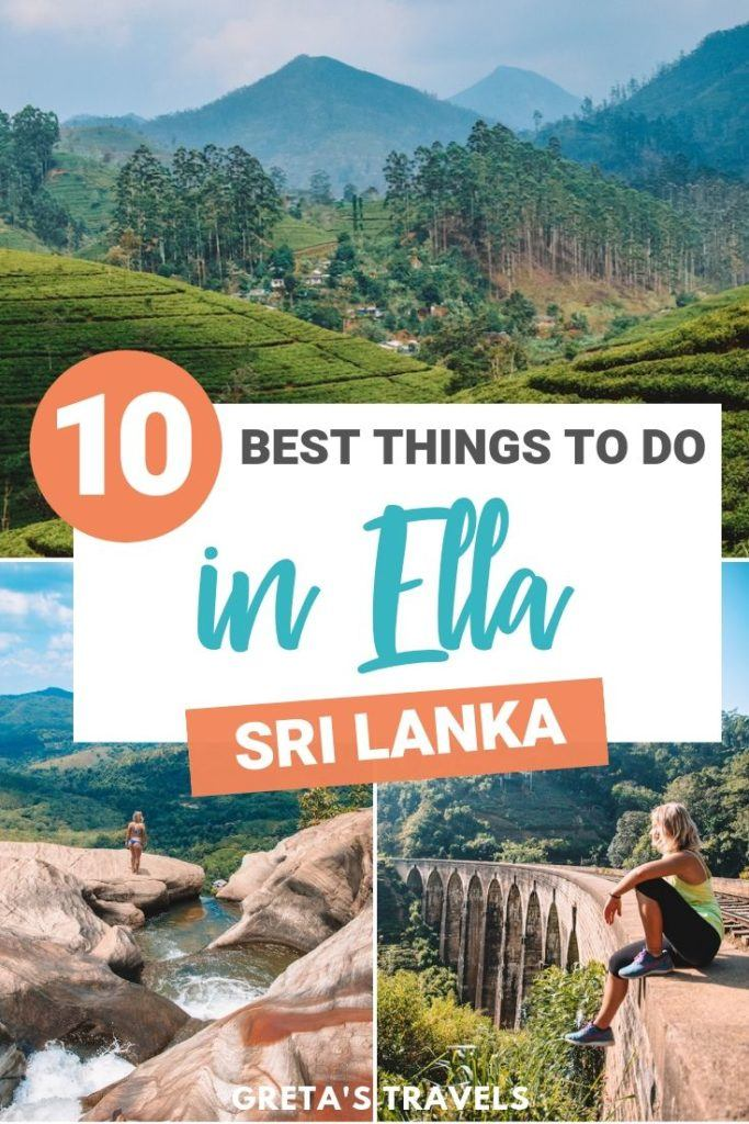 """Photo collage of the tea plantations, Diyaluma Falls and Nine Arch Bridge with text overlay saying """"10 best things to do in Ella, Sri Lanka"""""""