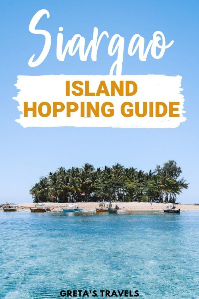 "Photo of Guyam Island with text overlay saying ""Siargao island hopping guide"""