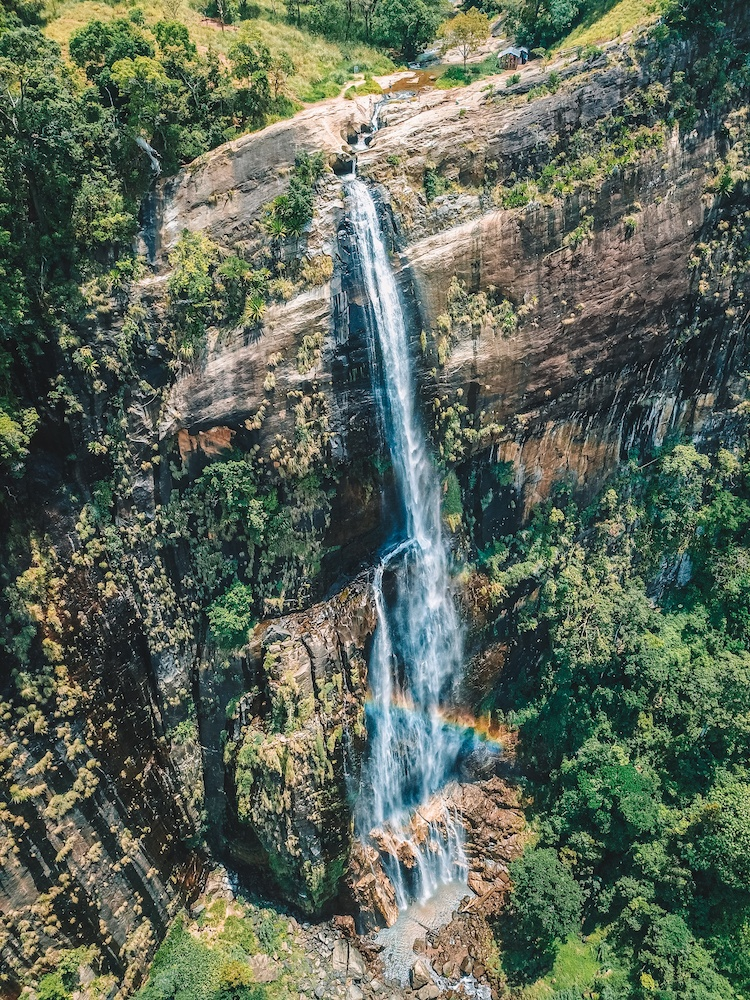 The 220m drop of Diyaluma Falls in Sri Lanka, drone shot by @solarpoweredblonde