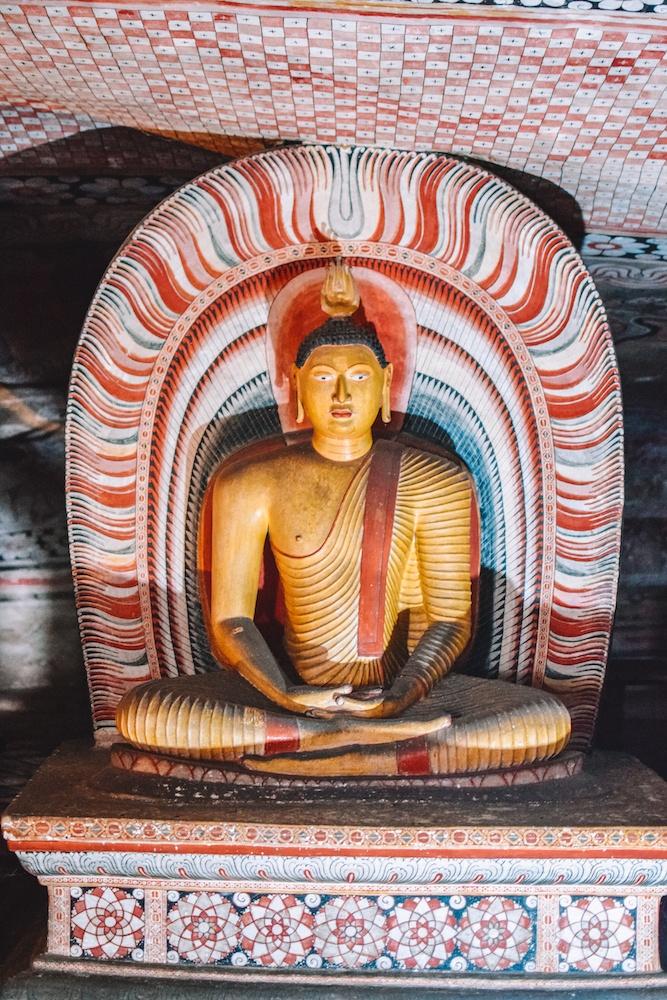 One of the buddhas at Dambulla Rock Cave in Sri Lanka