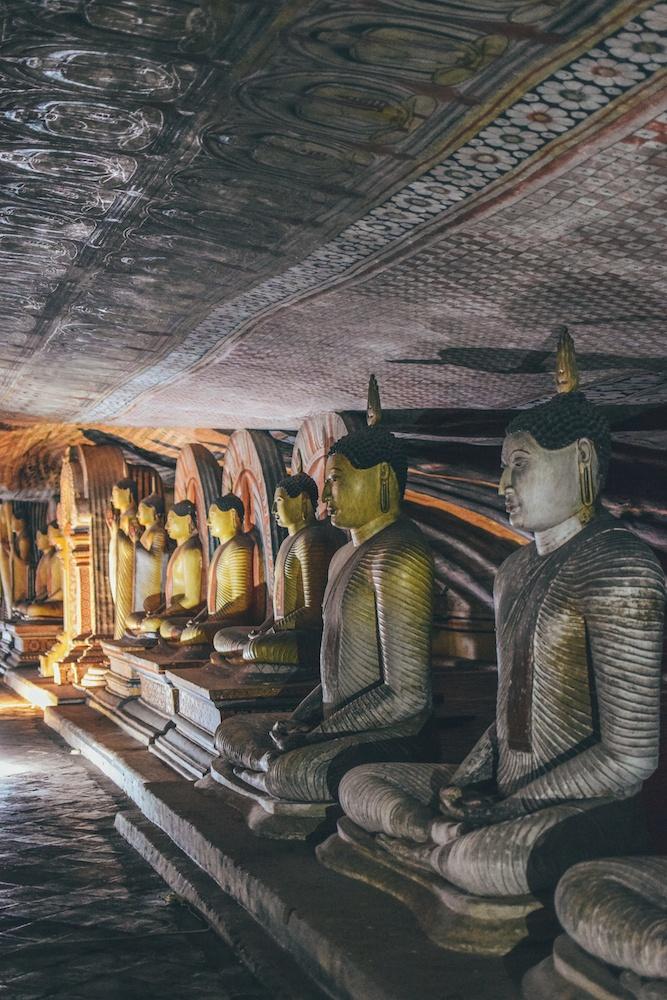 The buddhas at Dambulla Rock Cave in Sri Lanka