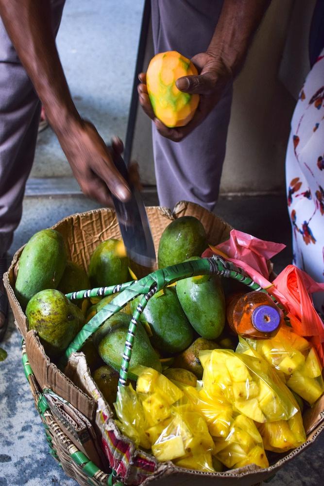 Fresh fruit sold on the Kandy to Ella train journey in Sri Lanka