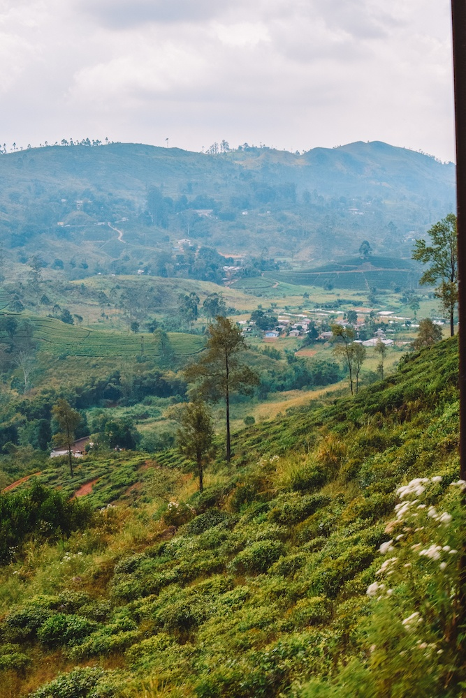Sweeping views over the Sri Lankan countryside during the Kandy to Ella train journey