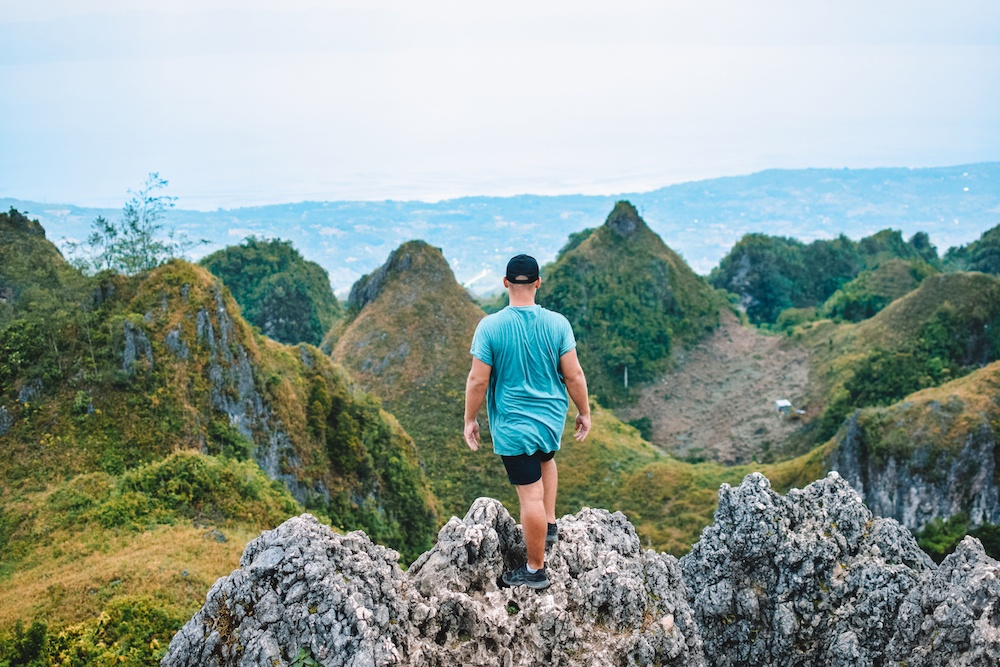 Enjoying the view over Moalboal and the Cebu coastline from Osmena Peak