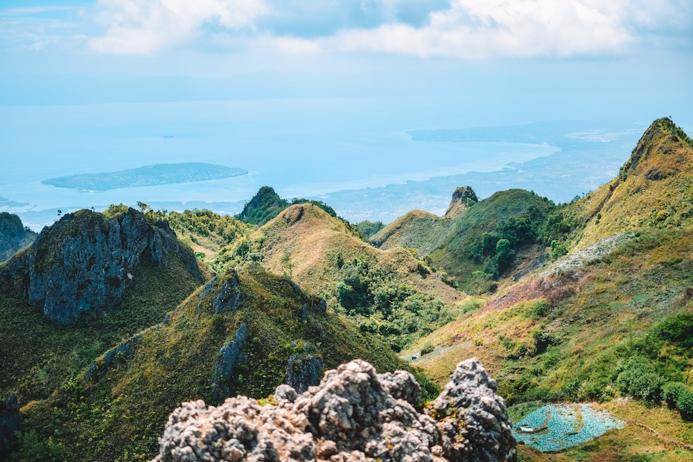 The jagged rocks and sea views of Osmena Peak on Cebu Island, Philippines