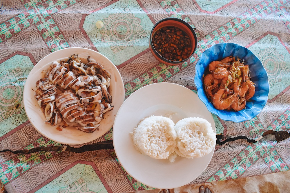Our fresh seafood lunch on Daku Island during our Siargao Island hopping tour in the Philippines