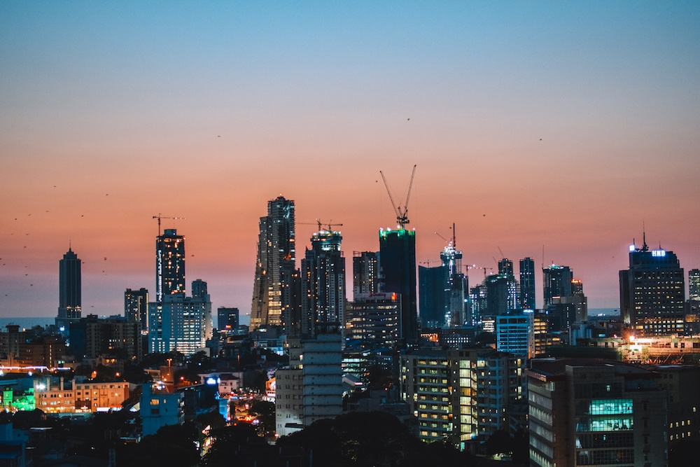 View of the Colombo skyline from Jetwing Colombo Seven in Sri Lanka