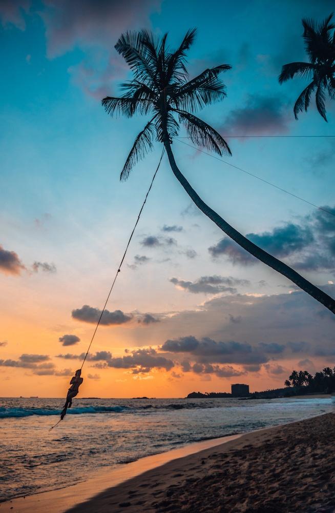 The famous sunset swing at Dalawella Beach in Unawatuna, Sri Lanka