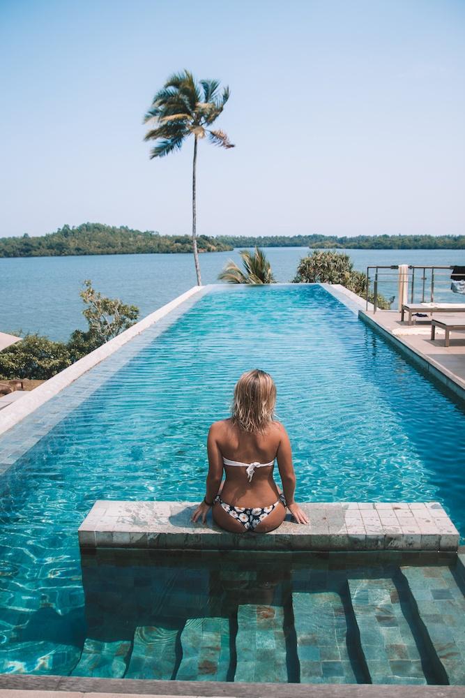 The pool of Hotel Tri by Koggala Lake in Sri Lanka