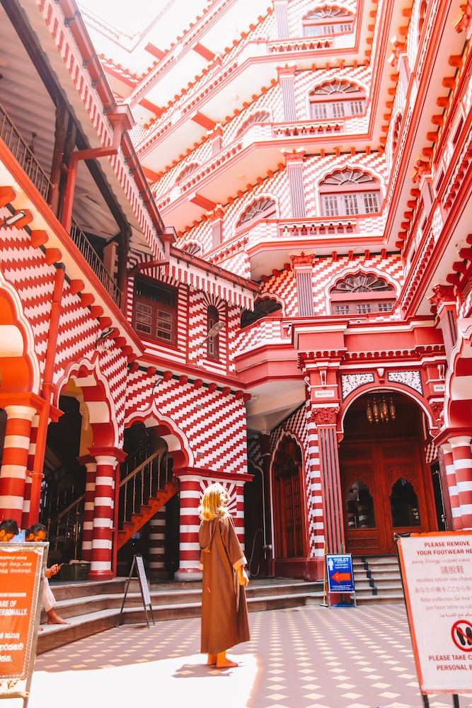 The inside of the Red Mosque in Colombo, Sri Lanka