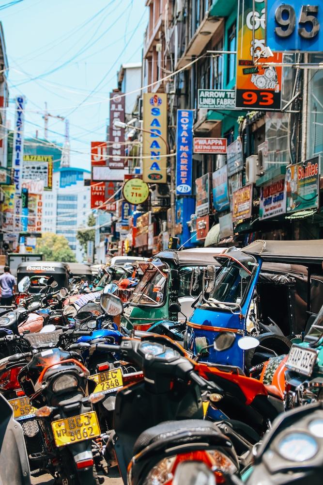 The bustling streets of Pettah in Colombo, Sri Lanka