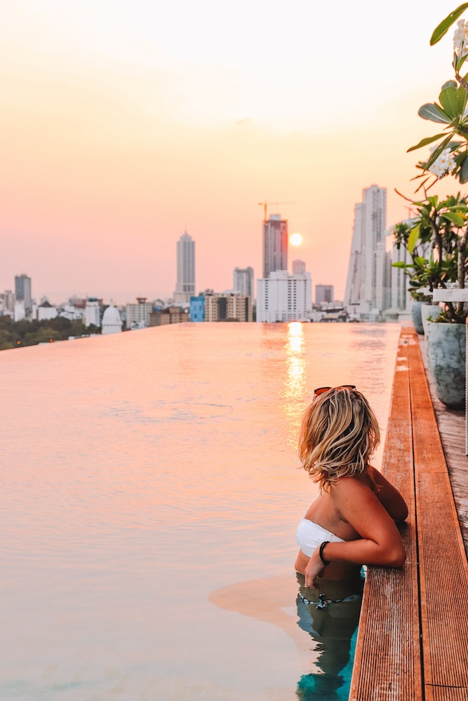Sunset view from the rooftop pool of Jetting Colombo Seven in Colombo, Sri Lanka