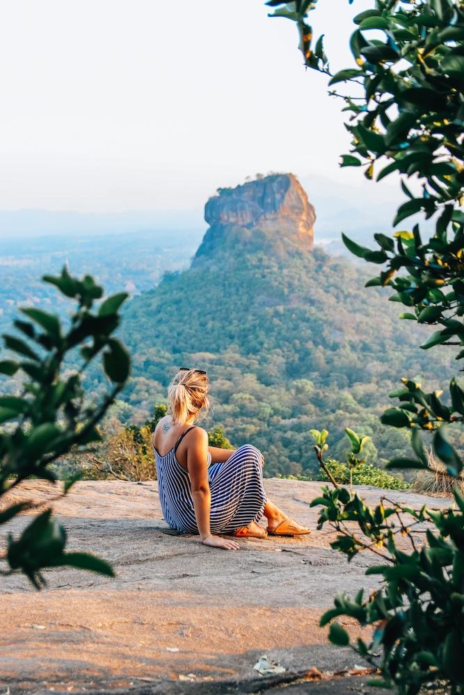 Enjoying the view over Sigiriya from Pidurangala rock in Sri Lanka during our 2 week trip