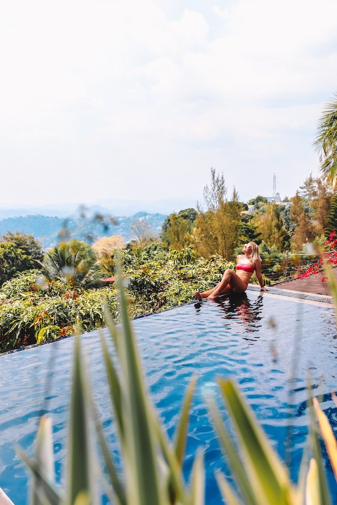 Enjoying the pool and view at the Theva Residency in Kandy, Sri Lanka