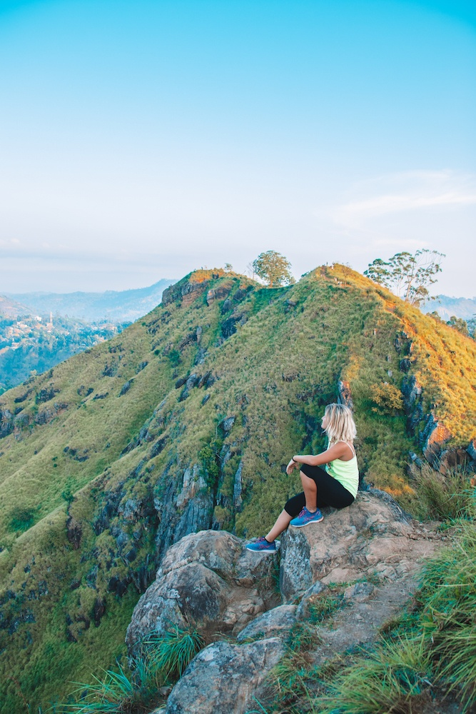 Enjoying the view over the mountains surrounding Ella from Little Adam's Peak