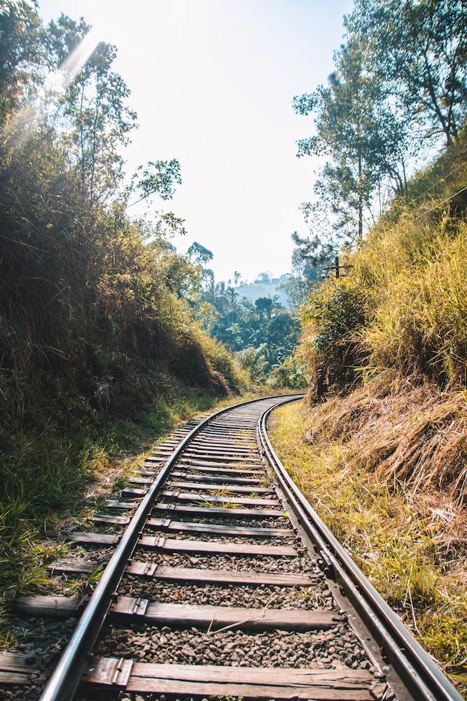 Hiking along the train tracks in Ella, on the way to Ella Rock, Sri Lanka