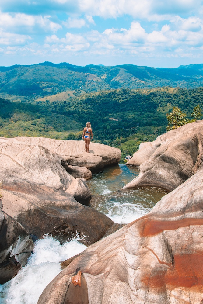 Enjoying the view from the top of Diyaluma Falls in Sri Lanka