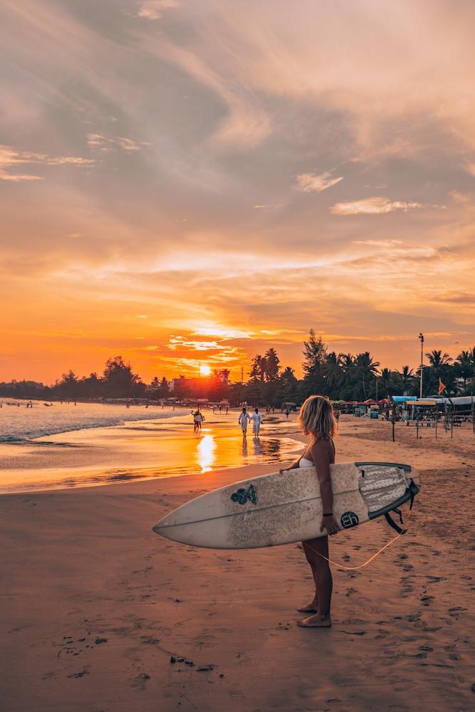 Sunset surf in Weligama, Sri Lanka