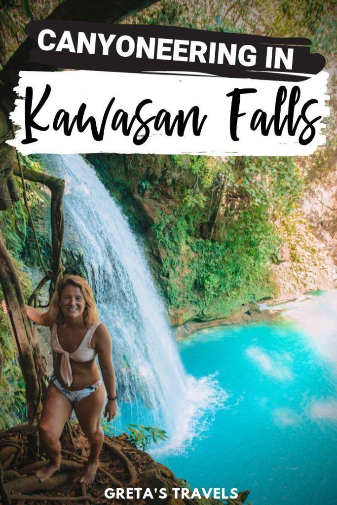 """Photo of a blonde girl by Kawasan Falls with text overlay saying """"Canyoneering in Kawasan Falls"""""""