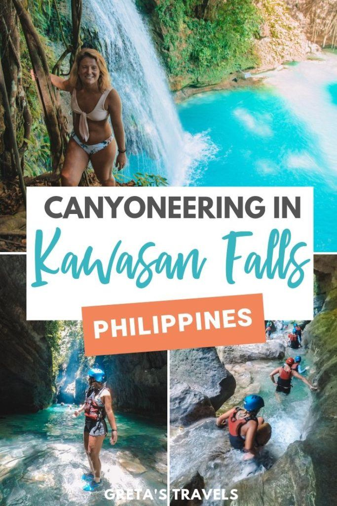 Planning to go canyoneering in Kawasan Falls on the island of Cebu in the Philippines? Find out everything you need to know with this ultimate guide! Including information on whether you should do a Kawasan Falls canyoneering tour, how to get there, what to bring and more! #kawasanfalls #cebuisland #philippines #philippinestraveltips #traveltips #traveladvice #asia #canyoneering #canyoning