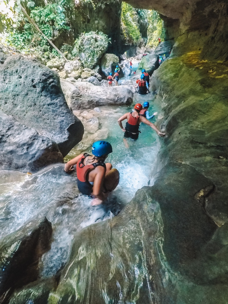 Canyoneering in Kawasan Falls in Cebu, Philippines