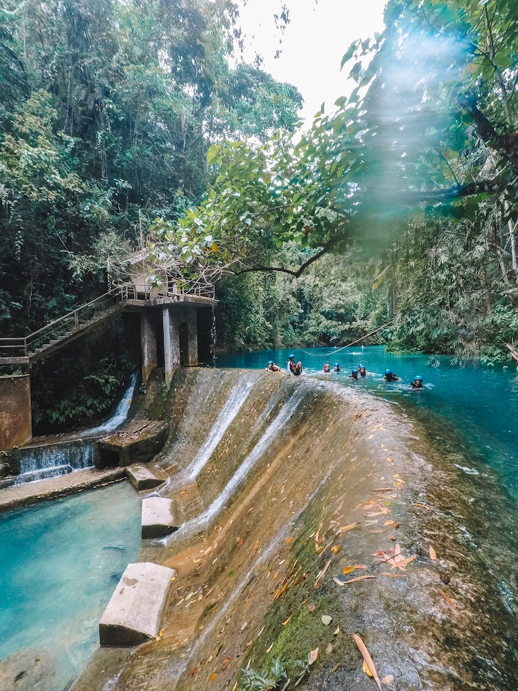 One of the waterfalls at Kawasan Falls on Cebu Island, Philippines