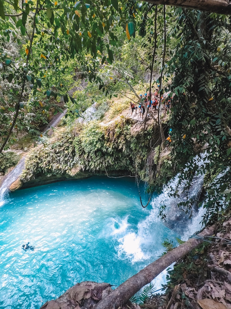 The biggest waterfall jump (12 metres) you will do while canyoneering in Kawasan Falls