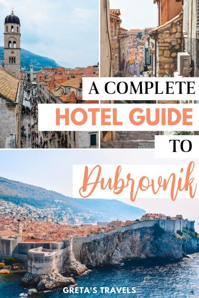 """Photo collage of the Old Town of Dubrovnik with text overlay saying """"a complete hotel guide to Dubrovnik"""""""