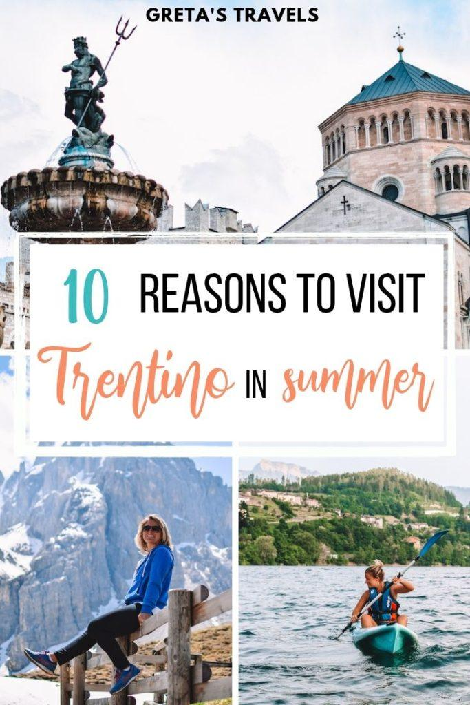 """Photo collage of Trento, Rolle Pass and kayaking in Lake Caldonazzo with text overlay saying """"10 reasons to visit Trentino in summer"""""""