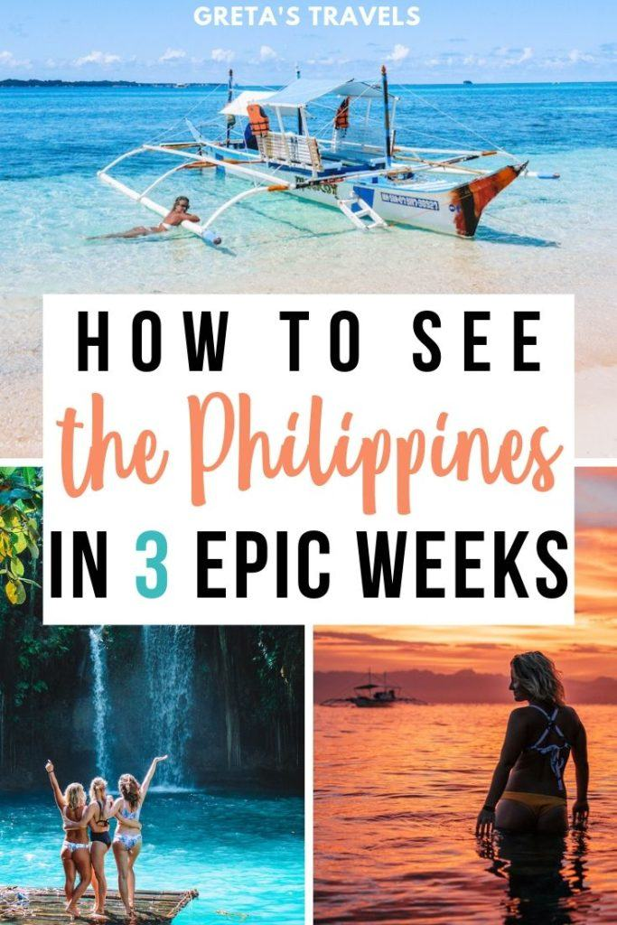 """Photo collage of a traditional Filipino boat on Naked Island, three girls standing in front of Kawasan Falls and the sunset in Moalboal with text overlay saying """"how to see the Philippines in 3 epic weeks"""""""