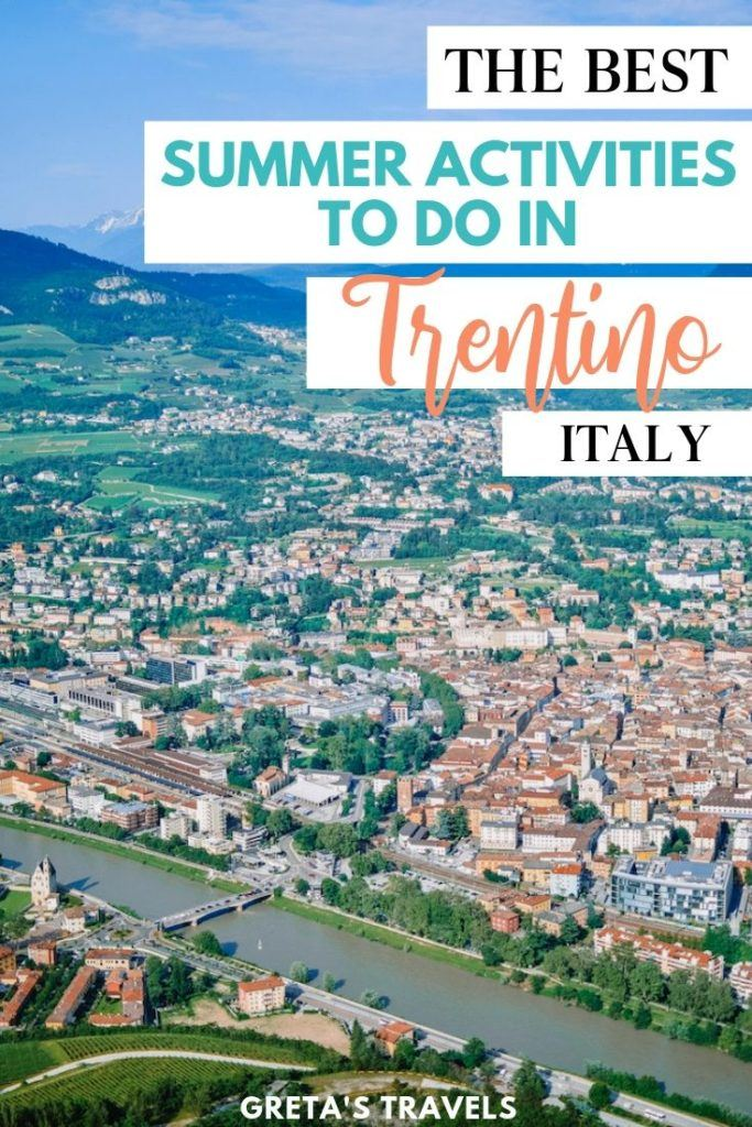 """The view over Trento from the cable car with text overlay saying """"The best summer activities to do in Trentino, Italy"""""""