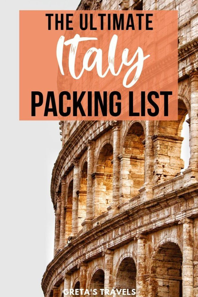"Photo of the colosseum in Rome with text overlay saying ""The ultimate Italy packing list"""