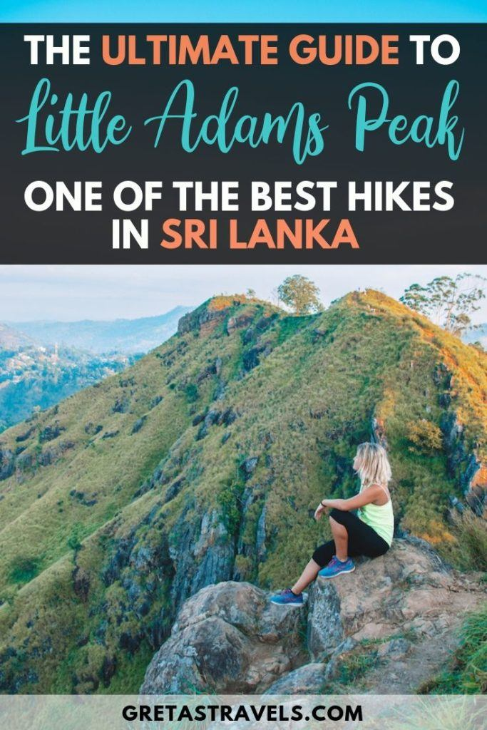 """Girl sat at the top of Little Adams Peak watching the sunrise over the hills, with text overlay saying """"the ultimate guide to Little Adams Peak, one of the best hikes in Sri Lanka"""""""