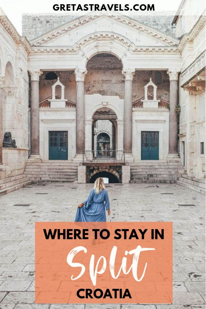 """Dicoletians Palace in Split Croatia with text overlay saying """"where to stay in Split, Croatia"""""""