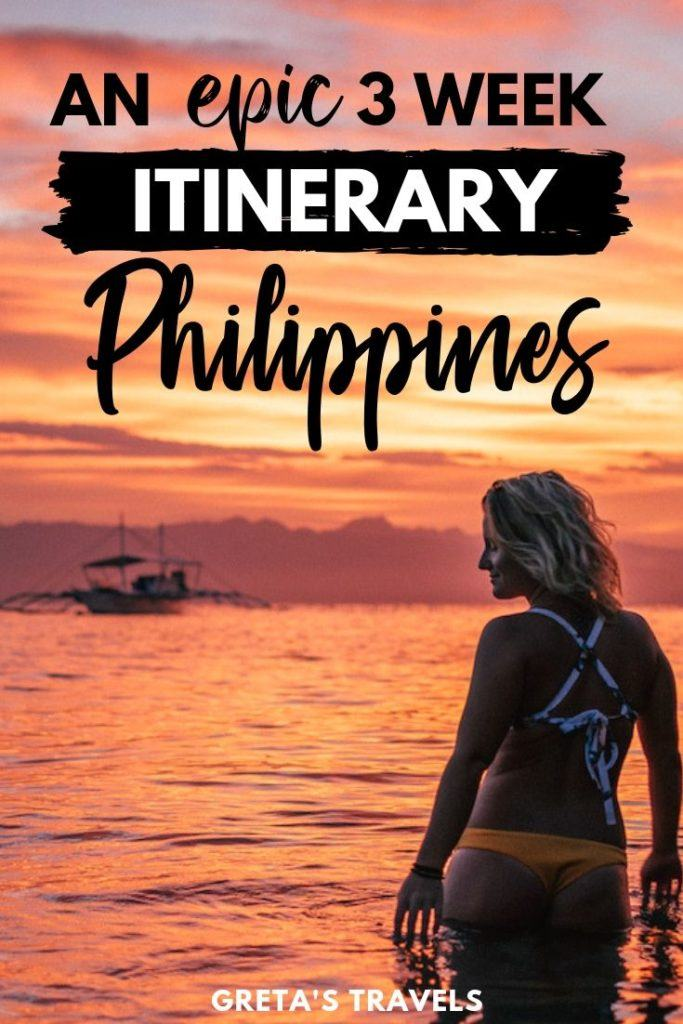 """Photo of a blonde girl standing in front of a sunset with text overlay saying """"an epic 3 week itinerary Philippines"""""""
