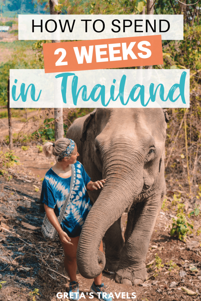 """Blonde girl walking alongside an elephant with text overlay saying """"how to spend 2 weeks in Thailand"""""""