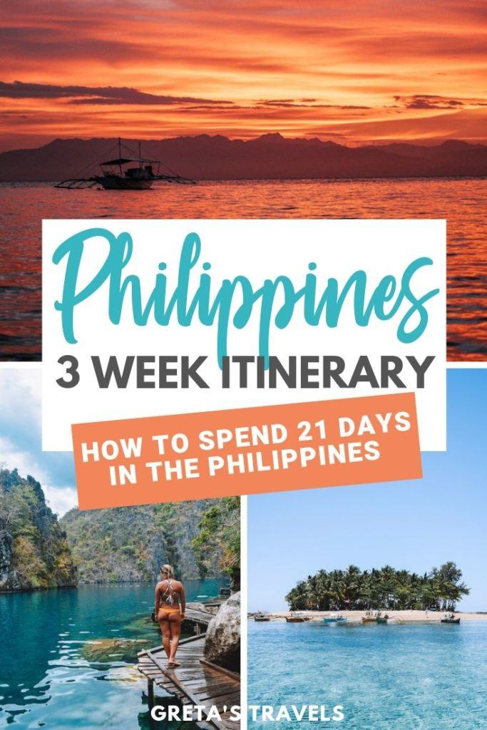 """Photo collage of Guyam Island, Kayangan Lake and a sunset in Moalboal with text overlay saying """"Philippines 3 week itinerary - how to spend 21 days in the Philippines"""""""