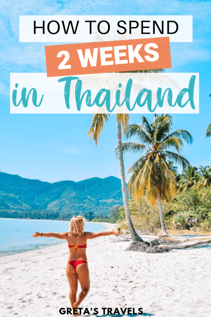 """Blonde girl walking along the beaches in Phuket with text overlay saying """"how to spend 2 weeks in Thailand"""""""