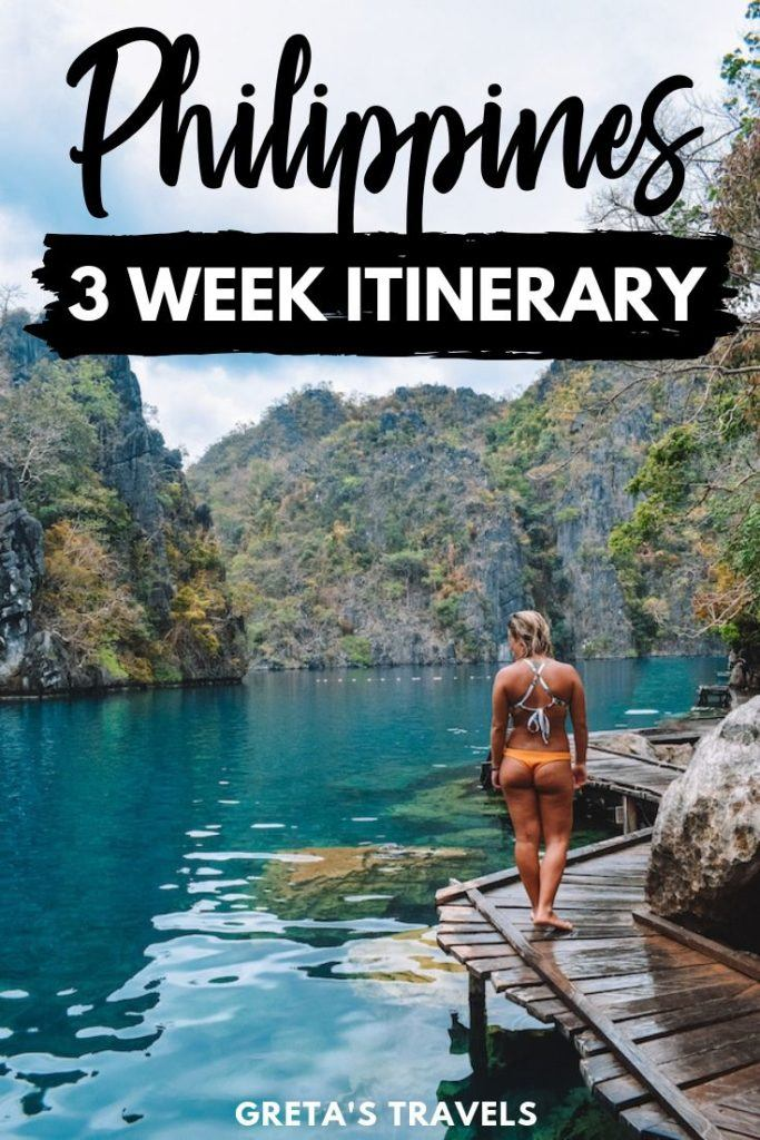 """Photo of a blonde girl in Kayangan Lake with text overlay saying """"Philippines 3 week itinerary"""""""